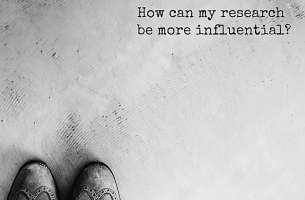 "This image features two shoes on the bottom left corner. The right top hand corner shows the question ""How can my research be more influential?""."