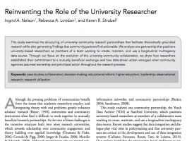 "This image features the cover of the study Reinventing the Role of the University Researcher""."