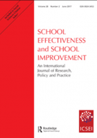 "The image features the cover of ""School Effectiveness and School Improvement"". The title is in red text on a white background."