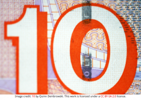 The image features a large 10 in white and orange.