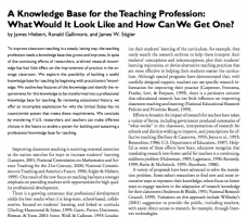 "The image features text from ""A Knowledge Base for the Teaching Profession: What Would It Look Like and How Can We Get One?"
