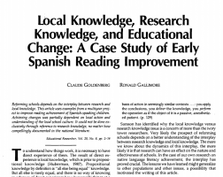 "The image features the text from ""Local Knowledge, Research Knowledge, and Educational Change: A Case Study of Early Spanish Reading Improvement"" on a white background."