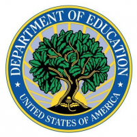 The image features the logo of the United States Department of Education, which has white text over a blue border, and an image of a tree in the middle.