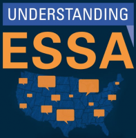 "The image features text that says ""Understanding ESSA"" and a blue map of the united states with yellow speech bubbles over it."