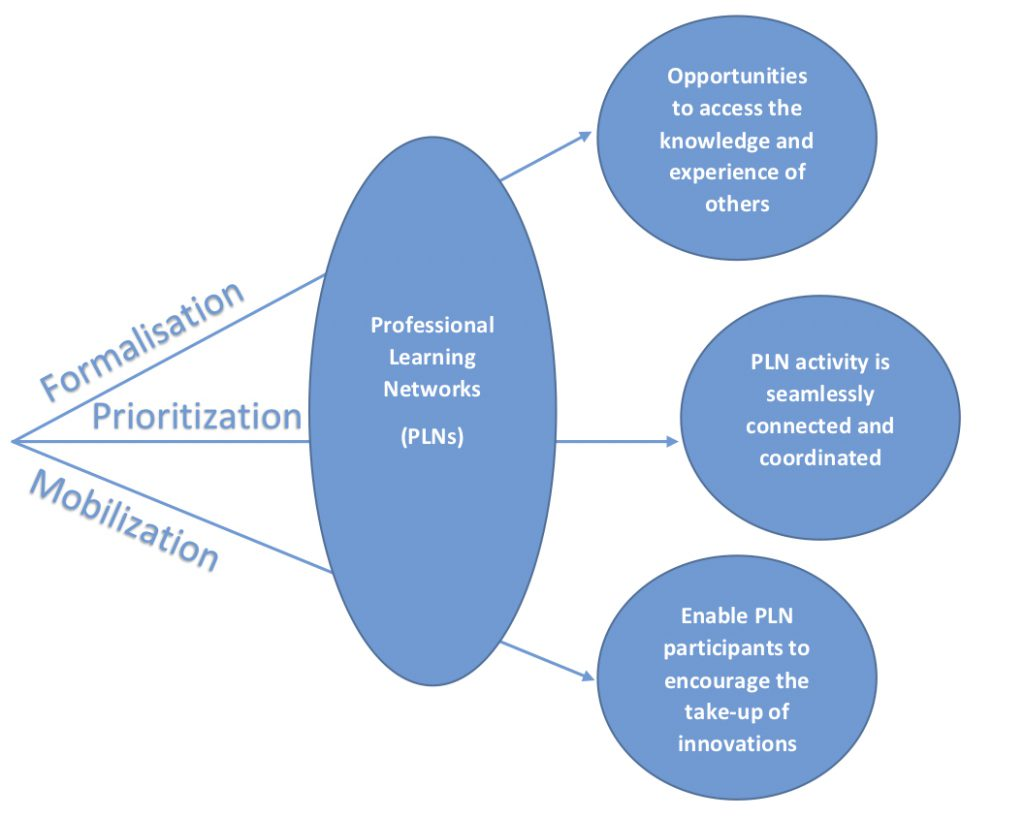 Illustrates the flow that PLNs work through. Processes that go into PLNs are on the left and the benefits/outcomes are on the right.