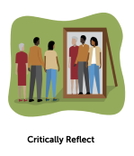People looking at selves in a mirror - reflecting